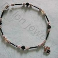 10 inch  Black with Gold Bicone Faceted Bead with Glass Tubes Handmade Animal Dog Cat Paw Print Charm Magnetic Anklet Fashion