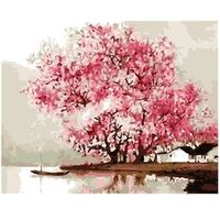 SAKURA Cherry Tree Oil Painting By Number 40x50cm Picture On Wall Acrylic DIY Drawing By Numbers Unique Gift szyh137