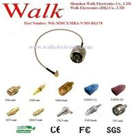 SZ.Walk RF cable assembly: N male straight to MMCX right angle with RG178