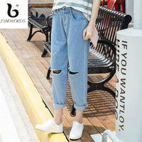 FINEWORDS Holes Mid-Rise Ripped Boyfriend Jeans Women Denim