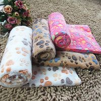 Cute Footprint Pet Dog Cat Blankets Fall And Winter Warm Velvet Towels For Dogs Creamy Coffee Rose On Your Choice Size S M L