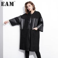 EAM autumn stand collar solid color black PU leather women