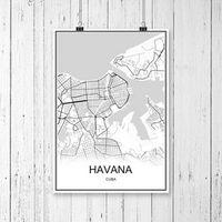 WEROUTE World City Map HAVANA Cuba Print Wall Sticker