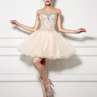 Champagne Sweetheart Strapless Mini Organza Rhinestone Homecoming Dress 8 Grade Graduation Dresses
