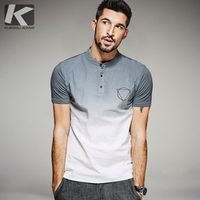 KUEGOU 2017 Summer Mens Fashion Shirts Patchwork Gray blue Brand Clothing For Man's Short Sleeve Slim Fit Clothes Male Tops 0381