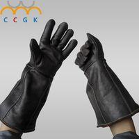 Anti-grasping Anti bite gloves 42cm Winter Plus plush safety Leather gloves plus thick anti-friction Pets training feeding glove