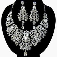CHRAN Luxury Charm Crystal Silver Plated Indian Bridal Wedding Jewelry Sets for Women Lovely Vintage Brand Jewelry Accessories