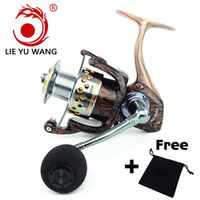 LIEYUWANG 2018 Metal Aluminum body Wood Grain Fishing Reel Spinning Fishing Rod