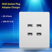 DC 4 Ports USB 5V 3.1A Electric Wall Charger Dock Station Socket Power Outlet Panel Plate Switch Power Supply Adapter Plug