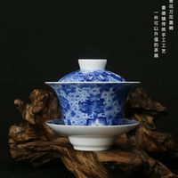 SIBAOLU Blue white flower Pattern Cover bowl All-Hand-made