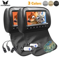 AUTOWINGS 2x 9 inch Leather Cover Car Headrest Monitor DVD Video Player TFT LCD