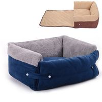 Multifunctional  Navy Blue Clamshell Dog Sofa Bed Flip Small Medium Dog Kennel Blanket Keep Warm Cat Dog House Mat Pet Products
