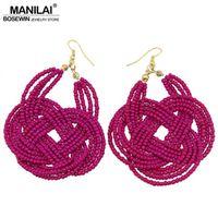 MANILAI Handwork Knitting Resin Beaded Bohemia Earring Women Fashion Jewelry Statement Geometric Pendants Dangle Earrings FE186