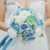 modabelle Rustic Wedding Bouquet Blue Rose Suculentas Beach