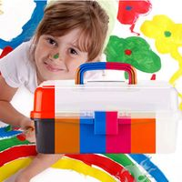9 inch New material children's art three painting toolbox transparent box storage