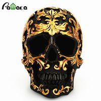 Resin Craft Black Head Golden Carving Halloween Party Skull