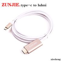 ZunJie USB 3.1 Type C to HDMI AV cable adapter converter male to female black color