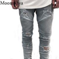 2016 hip-hop Men Jeans masculinaCasual Denim distressed Men's Slim Jeans pants Brand Biker jeans skinny rock ripped jeans homme
