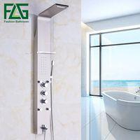 FLG European Luxury SUS Nickel Brushed Wall Mounted Bathroom Rain Thermostatic