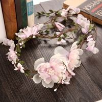 Korean bride rattan silk flower wreath headdress head beach
