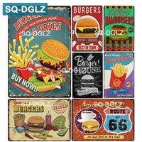SQ-DGLZ BURGERS FRIES Bar Wall Tin Sign Vintage Metal