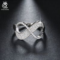 ORSA JEWELS Popular Girls' Finger Infinity Ring AAA Austrian Cubic Zirconia Rings Fashion Silver Color Jewelry Gift OR108