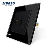 Manufacture Livolo, Black Crystal Glass Panel, 2 Gangs Wall Computer and TV Socket / Outlet VL-C791VC-12, Without Plug adapter