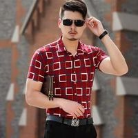 New Summer Fashion Brand Men's Slim fit Plaid Print Short-sleeve Casual Shirts Cotton Breathable Soft Dress Shirt Light Luxury