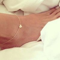 2015 New Fashion Hewelry Chain Sexy Gold Tone Love Heart Foot Jewelry Heart Anklets For Women Girl XY-B84