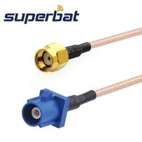 "Superbat Fakra male Plug ""C"" RP-SMA Male with hole pigtail jumper Cable RG316 15cm"