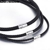 4/6/8mm Thin Black Braided Cord Rope Man Made Leather Necklace Silver Tone Stainless Steel Clasp Wholesale Gift Jewelry LUNM09