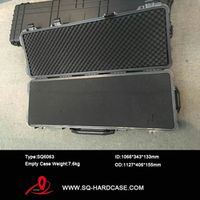Long size waterproof shockproof hard plastic gun case with pick pluck foam