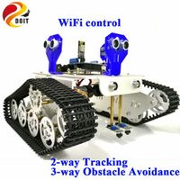 Official DOIT WiFi Control 2-way Tracking 3-way Ultrasonic Obstacle Avoidance Cralwer Robot Tank Car Chassis kit for Arduino kit