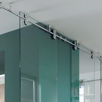 KIN MADE Free shipping+Ceiling mounted sliding glass partition door full set hardware