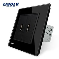Livolo, Black  Crystal Glass Panel, One Gang USB Plug Socket / Wall Outlet VL-C792U-12