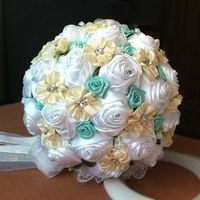 2017 Bridal Bridesmaid Wedding Bouquet Cheap New Luxury Crystal White Handmade Artificial Rose Flower Bridal Bouquets