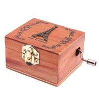 VKTECH Wood Music Box DIY Craft Vintage Gold Hand Hurdy