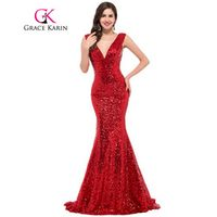 Grace Karin Mermaid Evening Celebrity Sequins Dresses