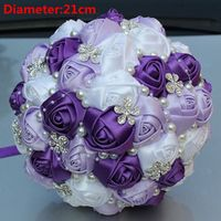 New Arrival Purple Silk Rose Brooch Wedding Bouquets Pearls Flowers Bridal Bouquet de noiva
