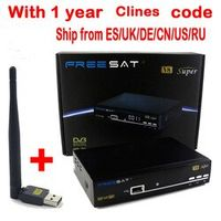 FREE SAT 1 Year cliens Europe Freesat V8 Super 1pc USB WiFi DVB-S2 Support PowerVu