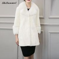 Plus Size Fake Fur Women Overcoat 2016 Casacos Cloaks Winter Warm Solid Black White Manteau Abrigos Mujer Feminino Cardigans