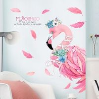 ZebraHome Pink Wall Stickers PVC Animal Modern Wall Decals
