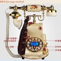 BINYEAE vintage technology violin rustic home antique phone/Redial / Hands-free /blue