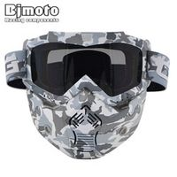 BJMOTO CRG Motorcycle Replaceable Dust Mask With Detachable Goggles for Open Face