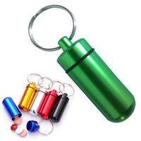 Fresh Durable Aluminum Cylinder Pill Box Case Bottle Holder Container Keychain