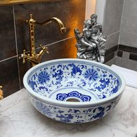 Blue and white porcelain bathroom vanity bathroom sink bowl countertop Oval Ceramic wash basin bathroom sink