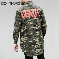 GONTHWID Graffiti Letters Printed Camouflage Hemline Extended Shirts 2017 Mens Curved Hem Long Sleeve Shirt Coats Hipster Shirts