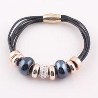 2016 New Fashion 6 Layer Leather Bracelet Bangle with Europe Big Hole Beads Charms magnetic clasp bracelet JJAL B320