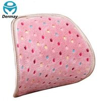 DERMAY Winter Cute Plush CUSHION FOR CAR Office Chair Girl Dot Pink Blue Color Lumbar