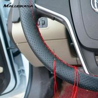 MALUOKASA 36/38/40CM Car Steering DIY Steering Wheel Covers Soft Leather Braid Design
